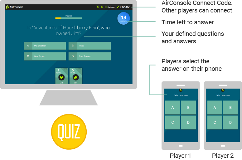 make a quiz and play it together with the crowd airconsole quiz